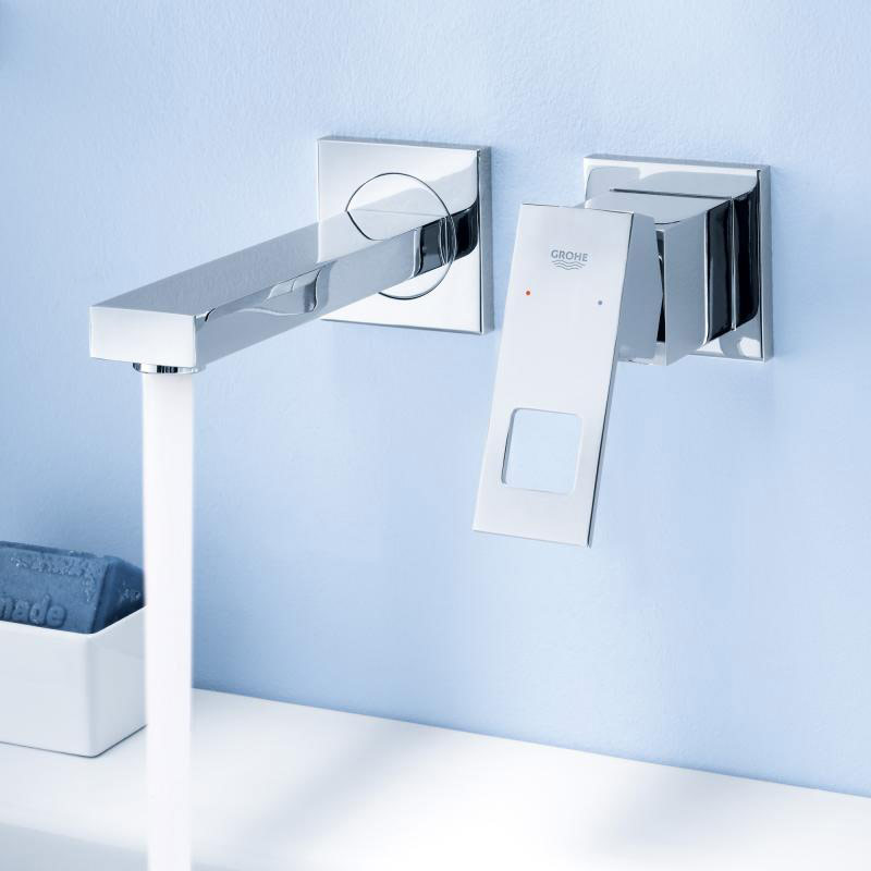 Grohe eurocube wall mounted two hole basin mixer
