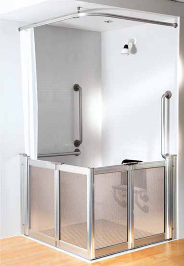 RTL Aluseal half shower door with curtain mobility impaired bathroom